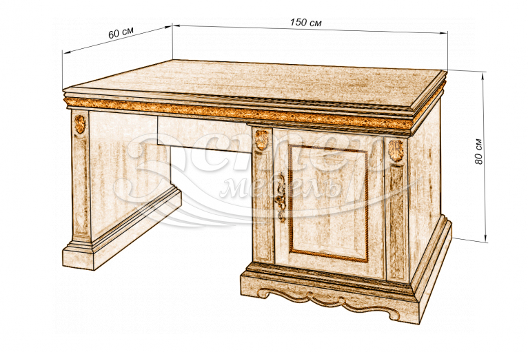 Стол письменный Милано однотумбовый из массива сосны