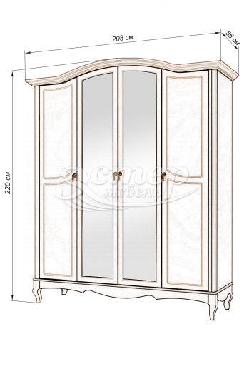 Шкаф 4-х створчатый Прованс из массива березы