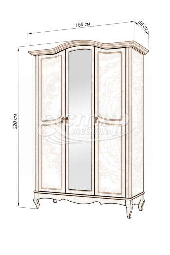 Шкаф 3-х створчатый Прованс из массива березы