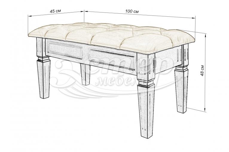 Банкетка с каретной стяжкой Доли из массива сосны (белая эмаль)