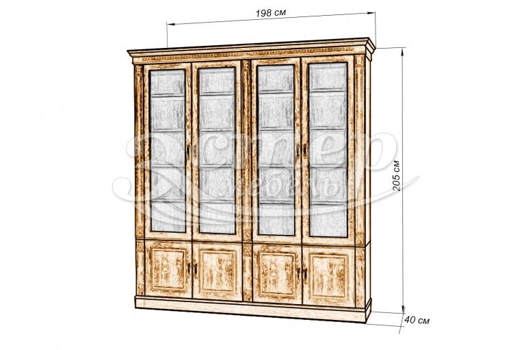 Библиотека 4-х дверная Флоренция из массива дуба