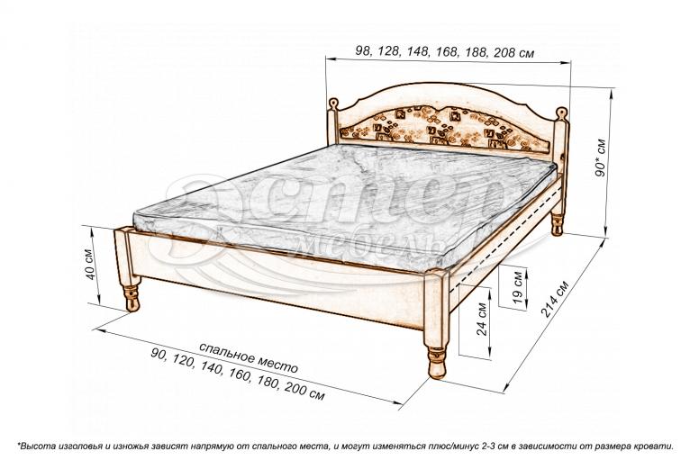 Кровать-тахта Лорето с материалом из массива дуба
