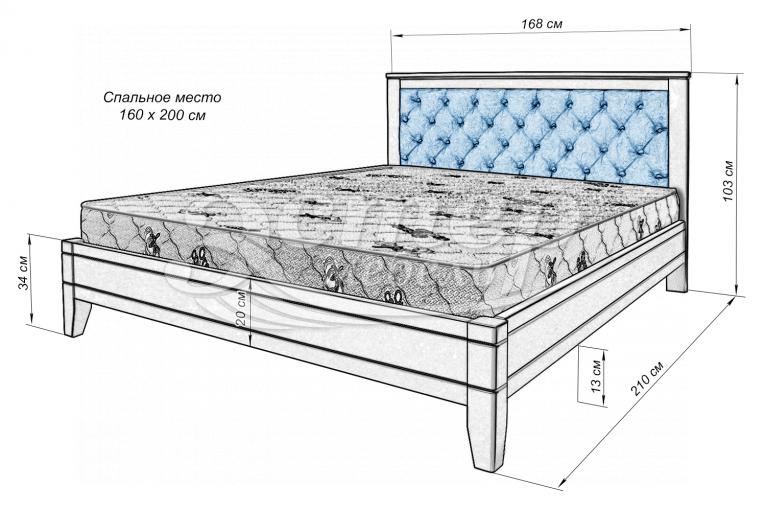 Кровать Алекса из массива дуба