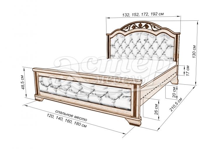 Кровать Пальмира с мягкой вставкой из массива сосны