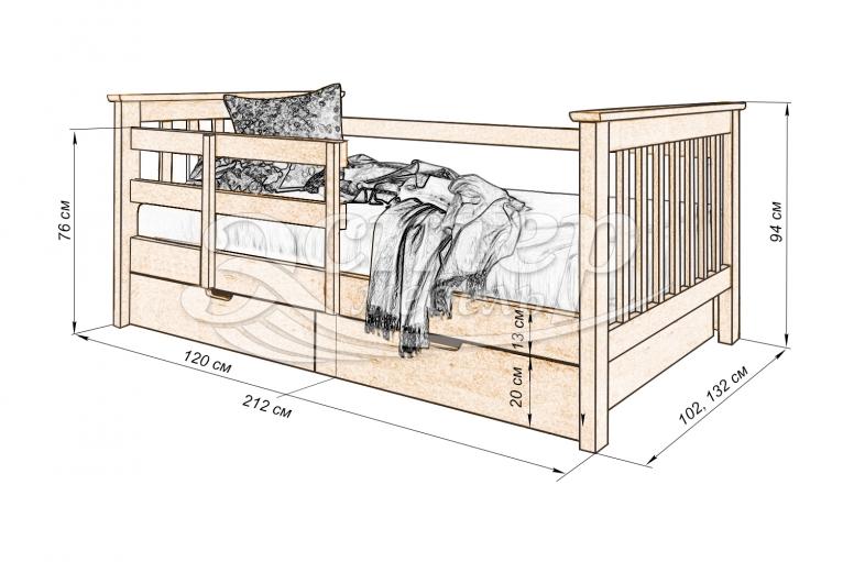 Детская кровать Сиена из массива дуба