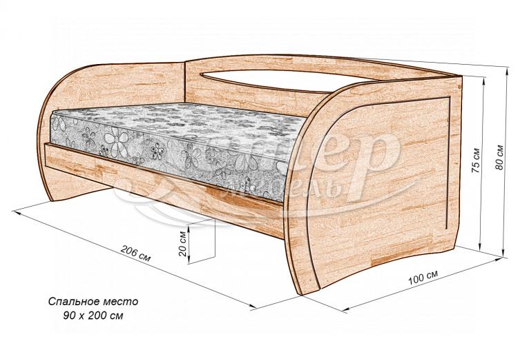 Кровать Альба детская из массива дуба
