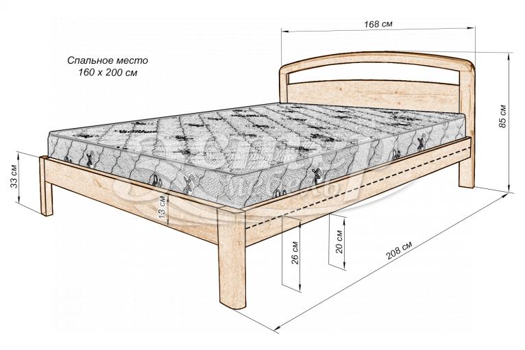 Кровать Альба Лайт из массива дуба