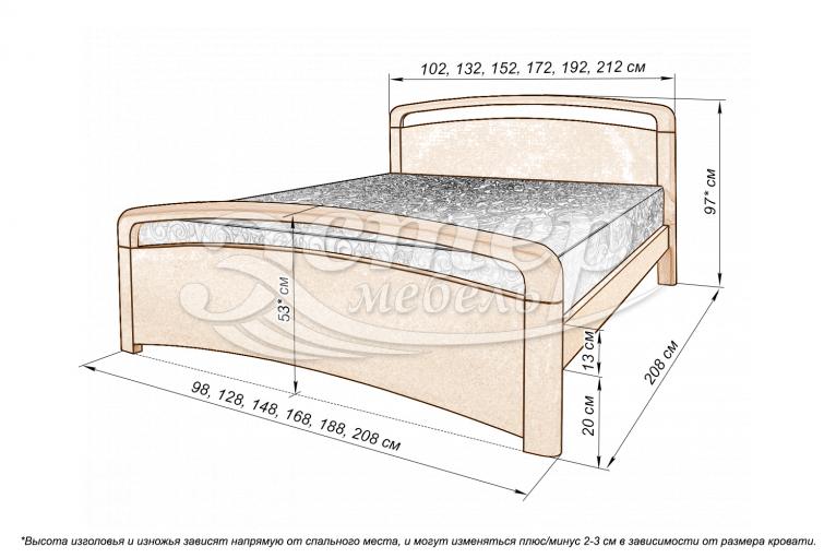 Кровать Альберта из массива сосны