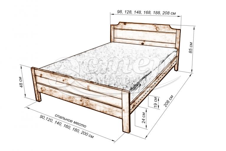 Кровать Мадрид №2 из массива березы