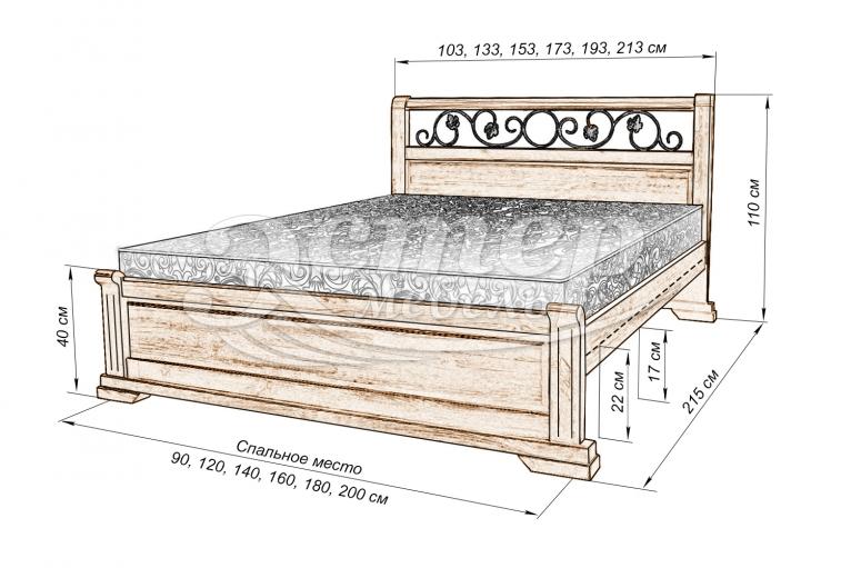 Кровать Луиза (ковка) из массива дуба