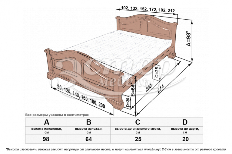 Кровать Сидни из массива бука
