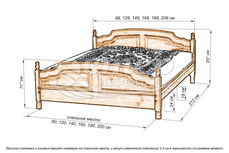 Кровать Филенка Колорадо из массива дуба