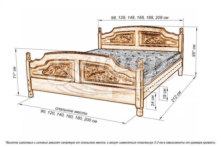 Кровать Филенка Колорадо (резьбы 4-х филенчетая) из массива дуба