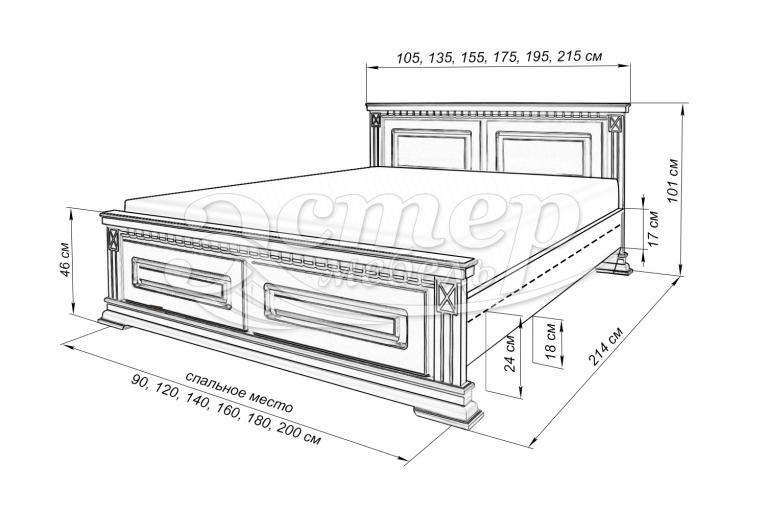 Кровать Верди из массива березы