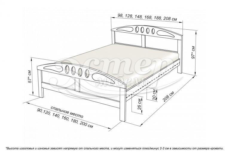 Кровать Оливер из массива дуба