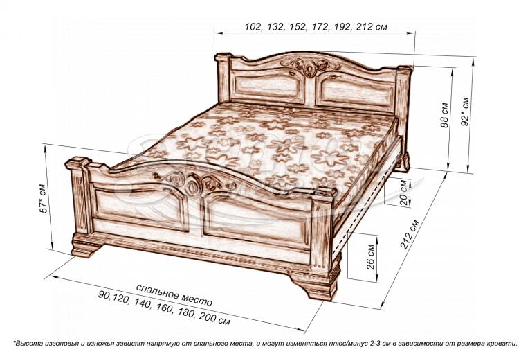 Кровать Марко из массива дуба