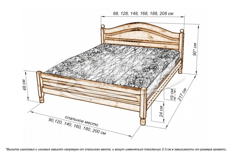 Кровать Рино филенчатая из массива сосны
