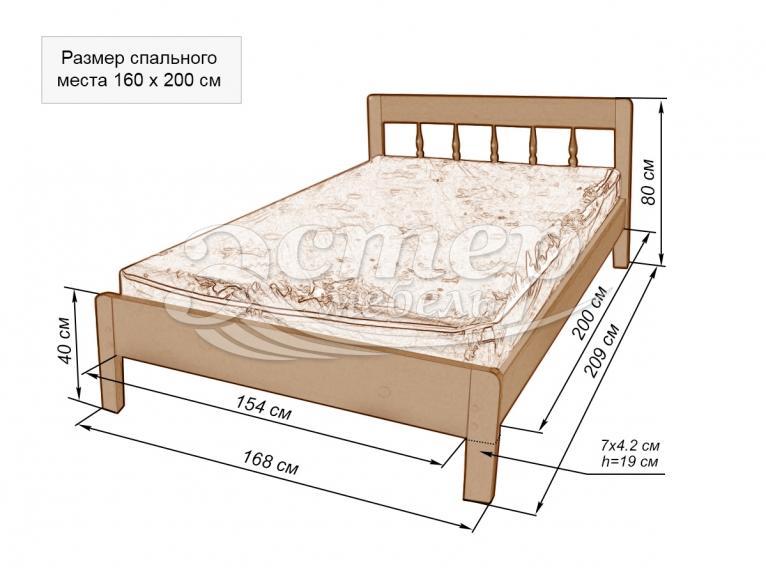 Кровать Монтана из массива дуба