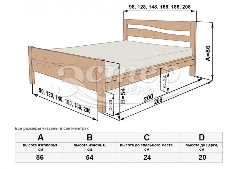 Кровать Кастро-1 из массива сосны