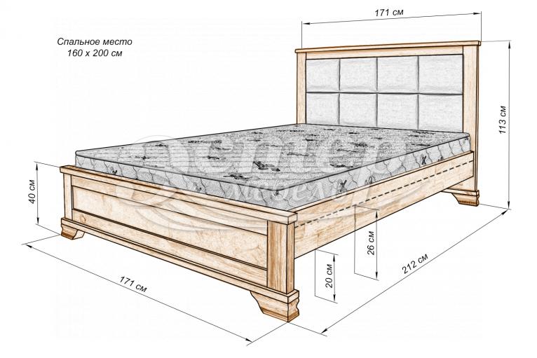 Кровать Колорадо с мягкой вставкой из массива дуба