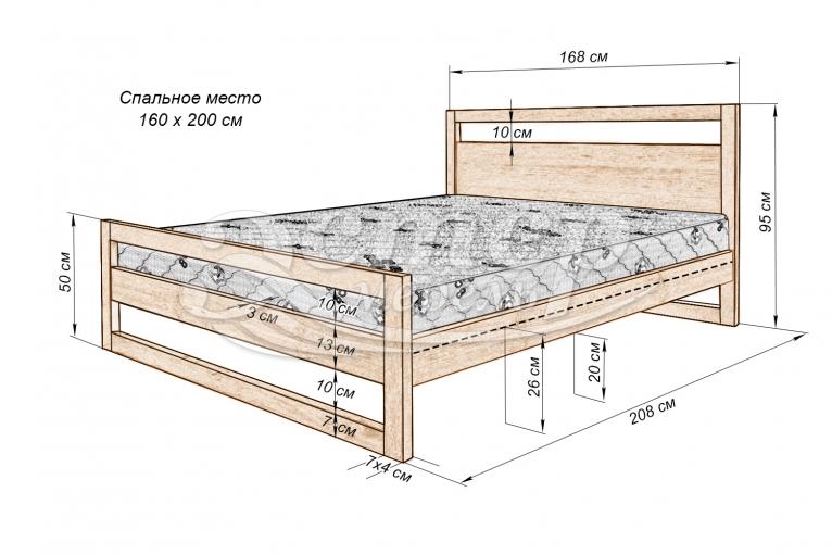 Кровать Калгари  из массива дуба