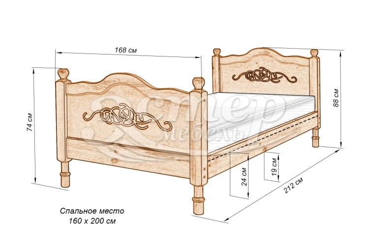 Кровать Юкон из массива березы