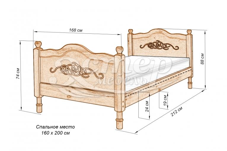 Кровать Юкон из массива дуба