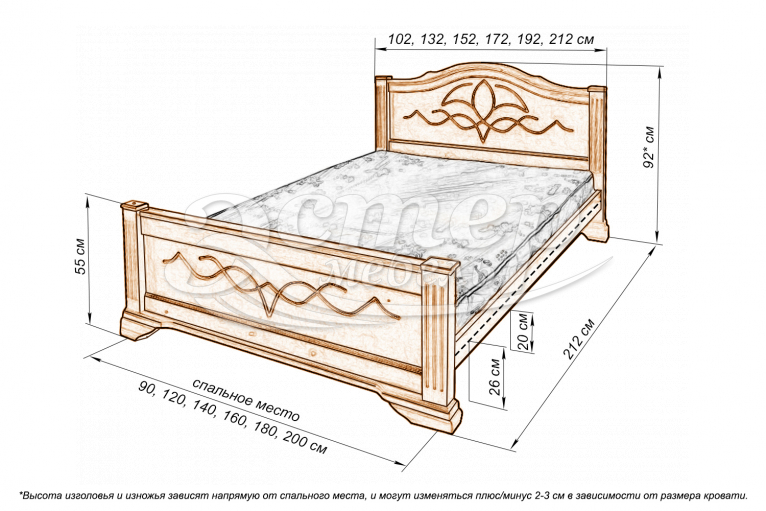 Кровать Гавана из массива сосны