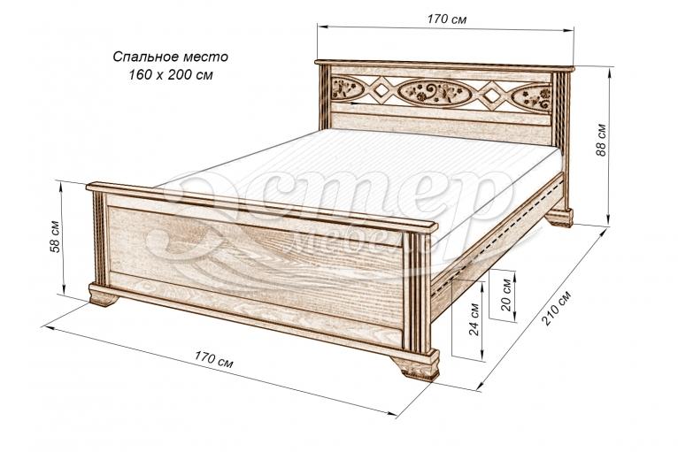 Кровать Лойс из массива дуба