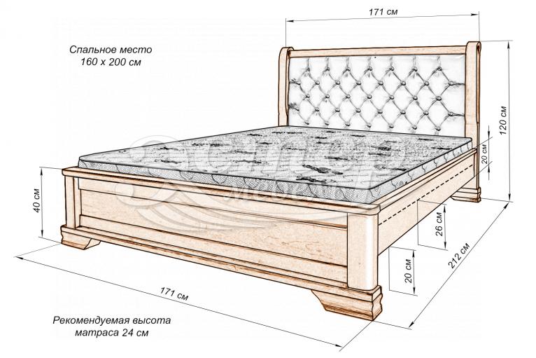 Кровать Нестер из массива дуба