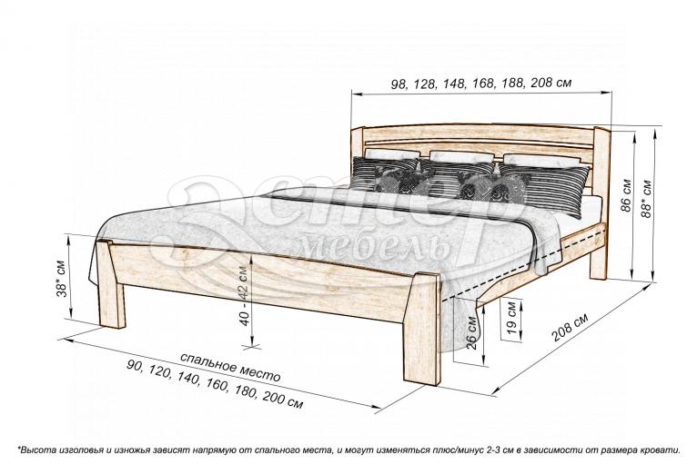 Кровать Мурсия из массива дуба