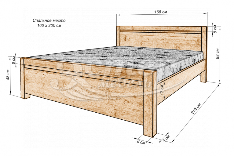 Кровать Алан из массива березы