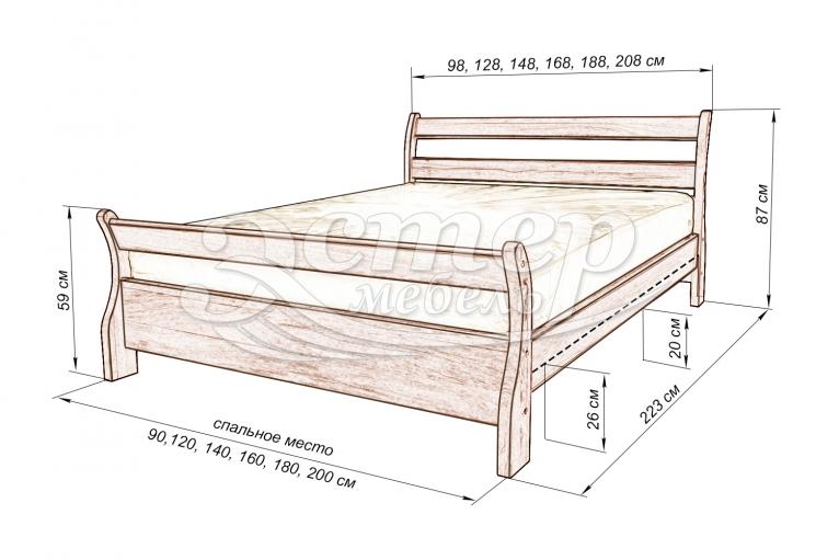 Кровать Альмерия из массива дуба