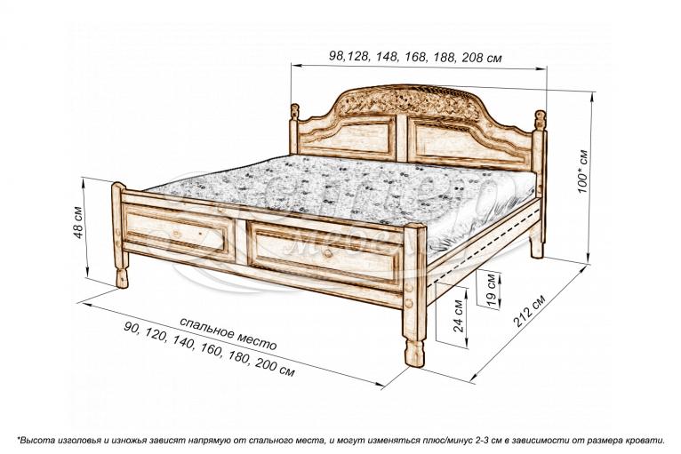 Кровать Антонио (резьба шапкой) из массива сосны