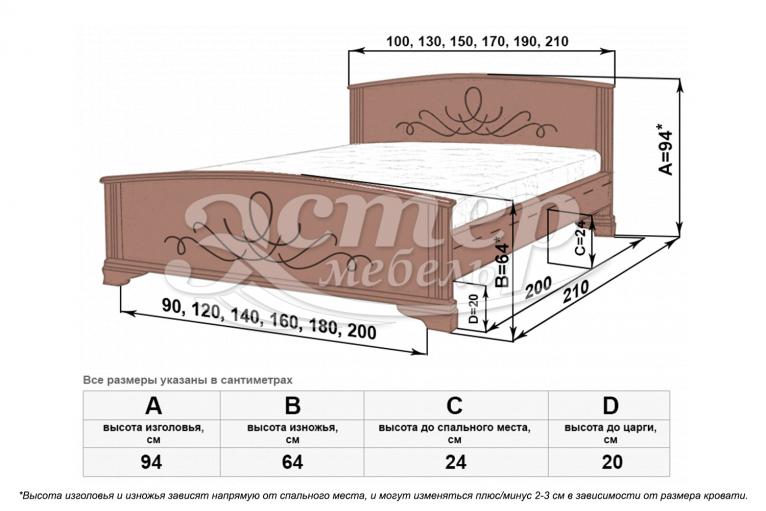 Кровать Гудзон из массива дуба