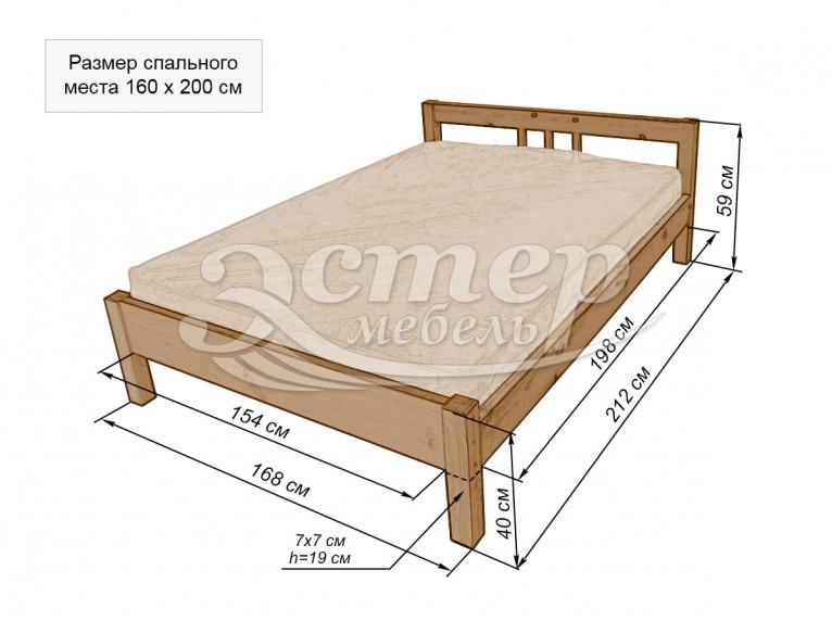 Кровать Джерси из массива дуба