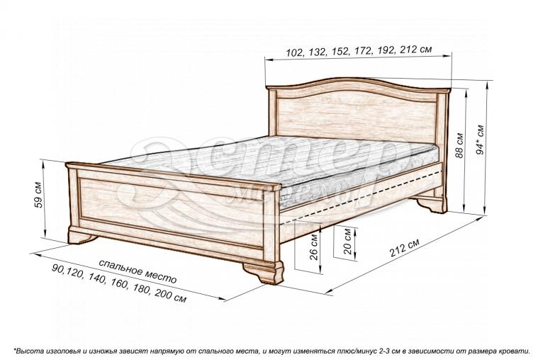 Кровать Вена из массива дуба