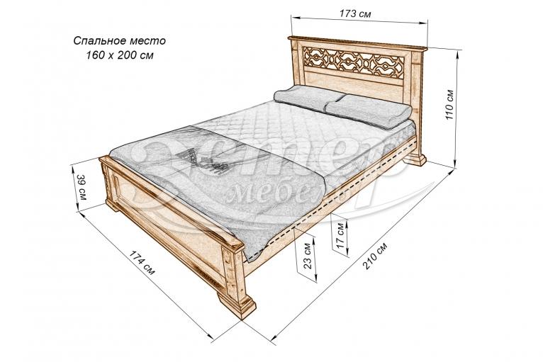 Кровать Тартус из массива березы
