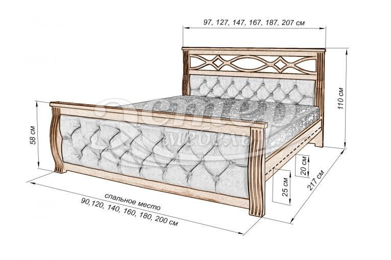Кровать Петергоф из массива дуба