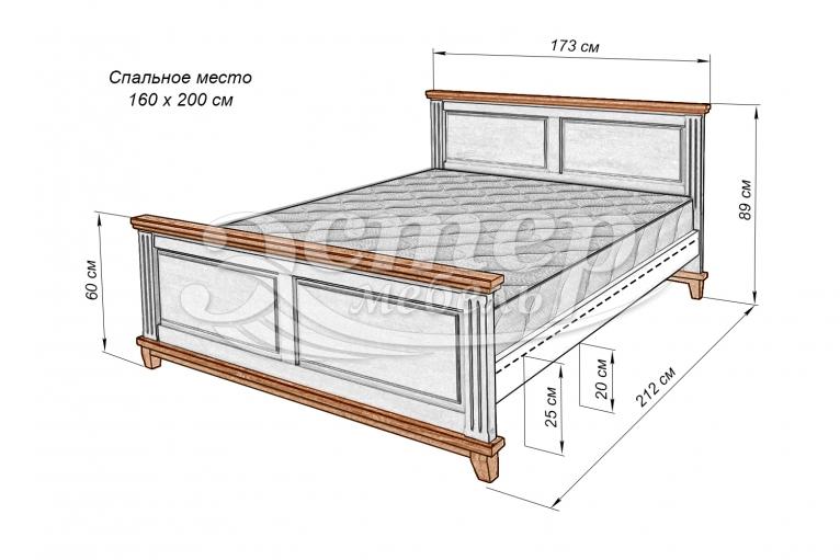 Кровать Прованс Нойс из массива сосны (белая эмаль)