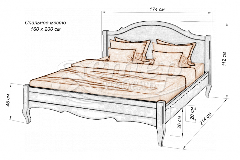 Кровать Прованс Hard из массива сосны