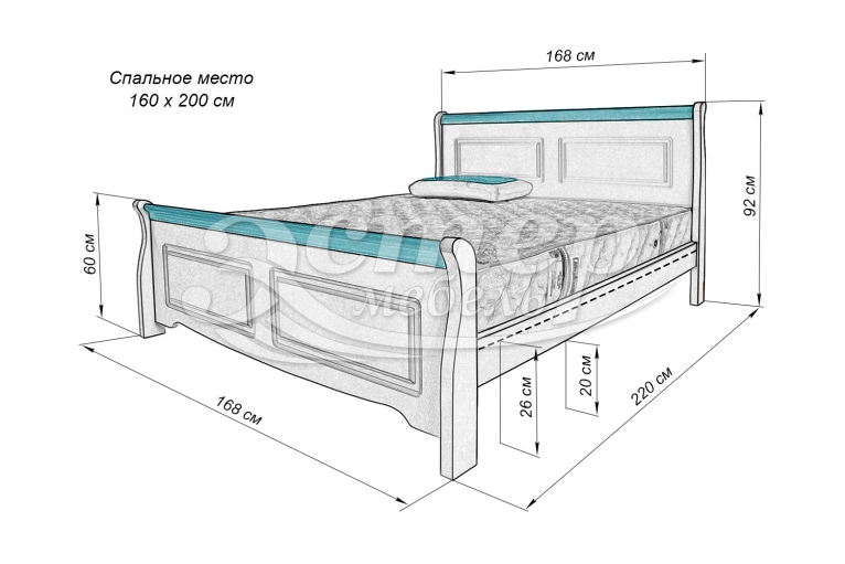 Кровать Прованс Ниас из массива бука