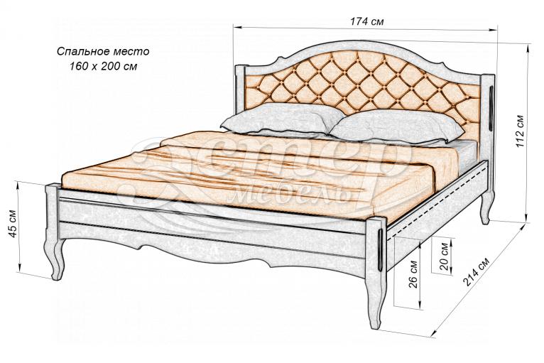 Кровать Прованс Soft из массива березы