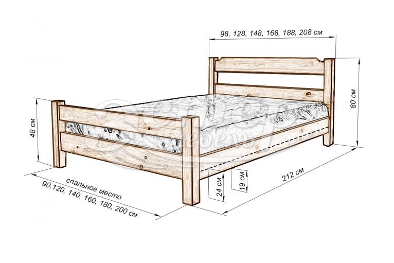 Кровать Паленсия 2 из массива дуба