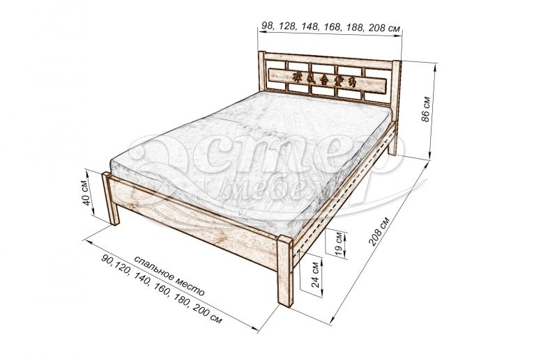 Кровать Сория с орнаментом из массива сосны