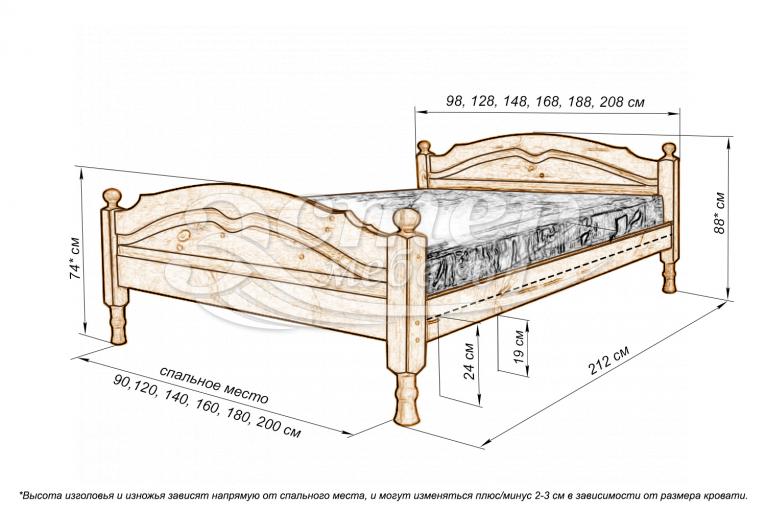 Кровать Кристал из массива дуба