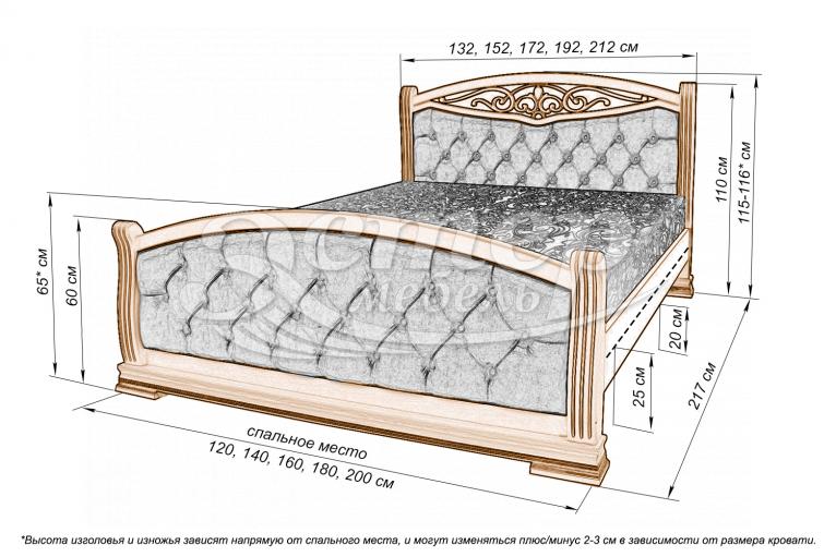 Кровать Сицилия из массива дуба