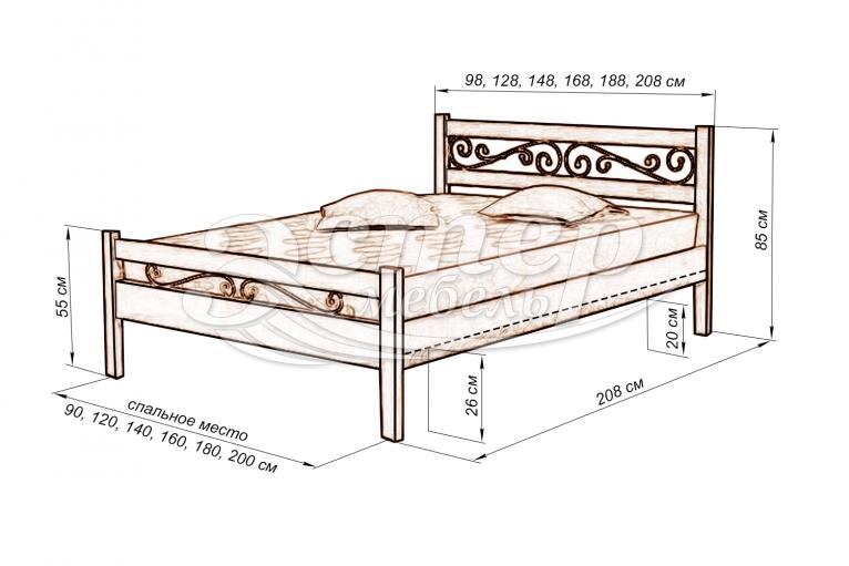 Кровать Лирона (ковка) из массива березы
