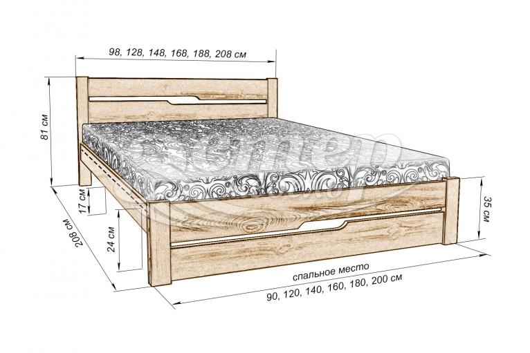 Кровать Веста из массива бука