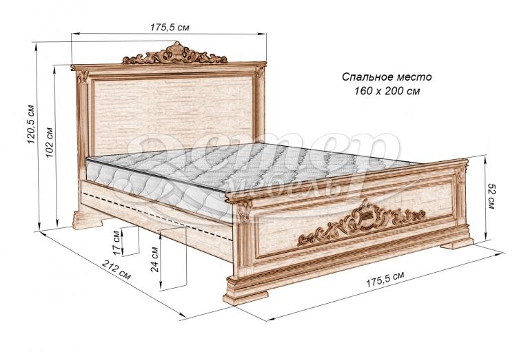 Кровать Виктория из массива дуба